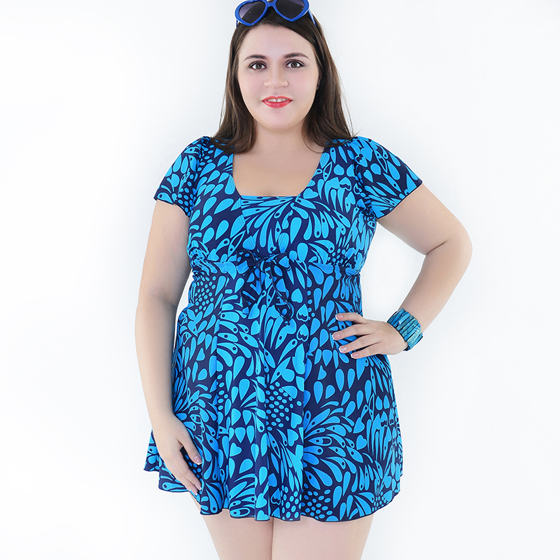 цена 2016 Top Quality One Piece Bathing Suit Skirt Swimwear Plus Size 4XL-8XL Swimdress Sleeved for Women Ladies Big Breast Swimsuit