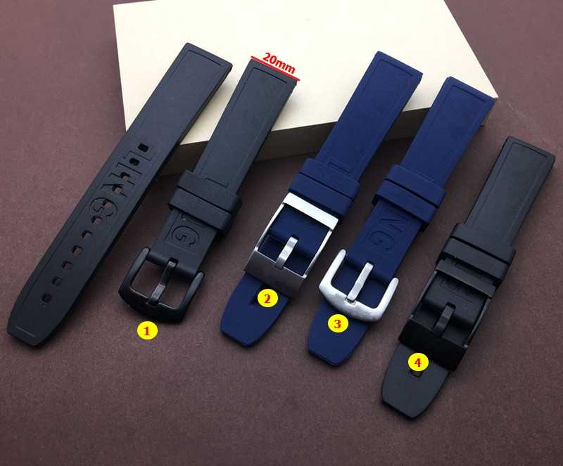 Top quality Nature Rubber silicone Watch band 20mm Black dark blue Watchband For navitimer/avenger/Breitling strap buckle tools
