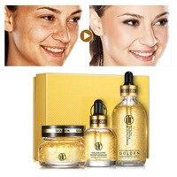 Daralis 3PCS 24K Gold Hyaluronic Acid Face Skin Care Set Facial Essence Whitening Moisturizing Repair Gel Eyes Serum Golden Sets