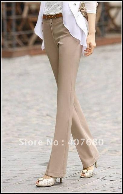 Хит продаж Женская мода Micro расклешенные брюки бизнес носить прямые брюки рабочая ПР повседневные штаны хаки, черный.