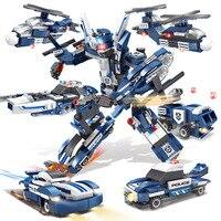 6в1 полицейская серия Блоки вертолет полицейский автомобиль строительные блоки совместимый город Развивающие игрушки для детей Подарки