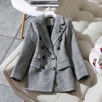 Women fashion elegant woolen blazer notched collar bee beading plaid gray double breasted blazers new 2018 autumn winter