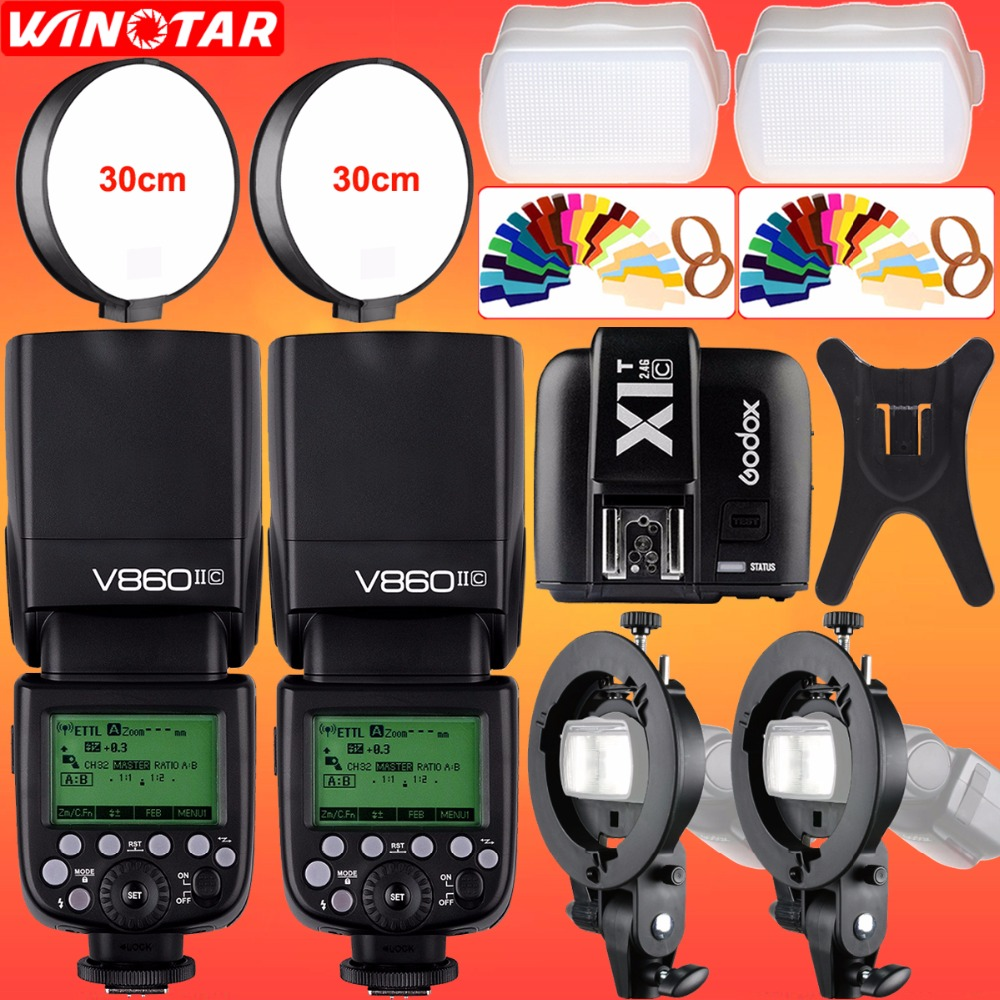 2X Godox V860II-C 2.4G HSS 1/8000s E-TTL II Li-ion Battery Camera Flash + X1T-C Trigger + Bowens Bracket for Canon DSLR Camera godox 2pc v860ii the flash li battery e ttl hss 1 8000s bateria camera flash speedlite v860iic with x1t c for canon 60d 650d 80d