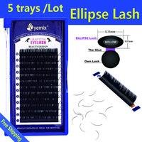 Eyemix 5pcs/Lot New Style Ellipse eye lash 2d Korea PBT Fiber Cilia Artificial Flat Individual EyeLash Extension