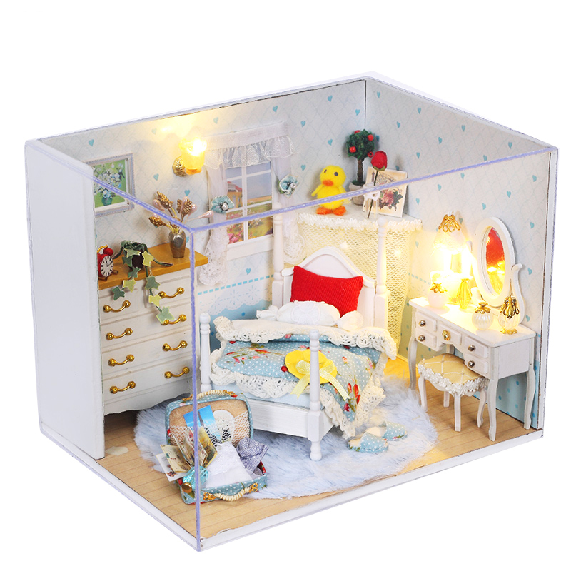 DIY Doll House Miniature With Furnitures LED 3D Wooden Creative Handmade Dollhouse Gift For Children Toy Lovely Princess Q001 #E
