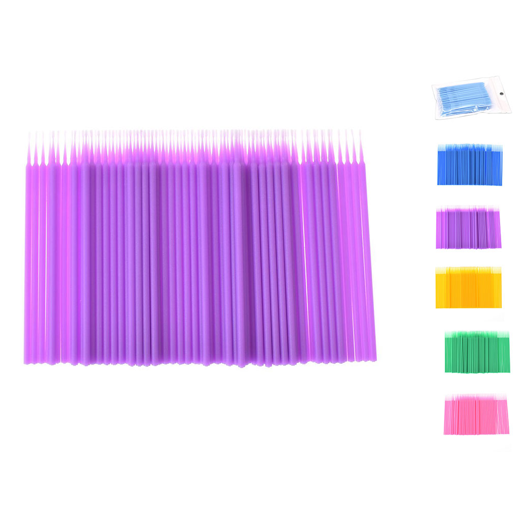 6 Colors 100pcs Double Head Disposable Swab Fiber Buds Plastic Sticks Eyebrow Eyelash Make Up Tools