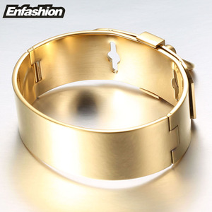 Image 3 - Enfashion Jewelry Circle Ring Wide Cuff Bracelet Noeud armband Gold color Bangle Bracelet For Women Bracelets Manchette Bangles