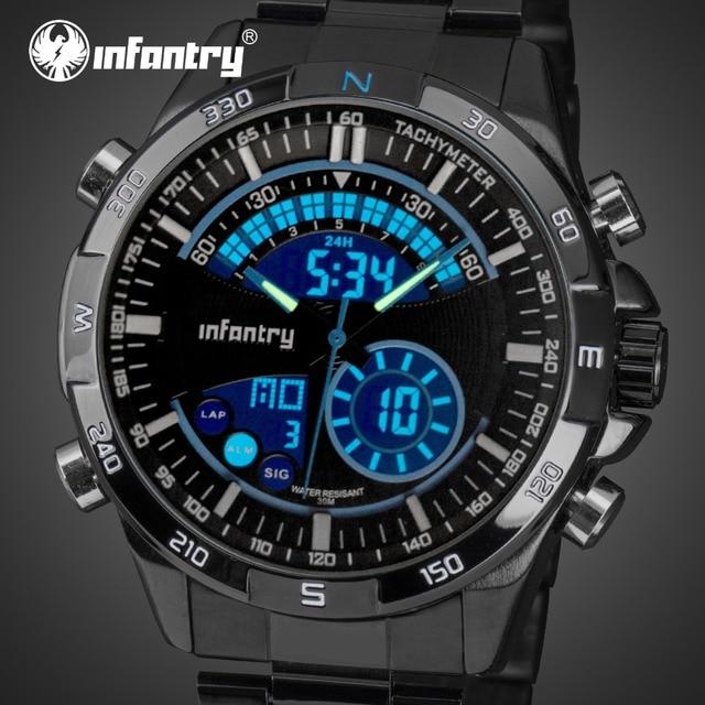 0f0aad22216 INFANTARIA Mens Relógios Top Marca de Luxo Relógio Militar Analógico  Digital Homens Relógio Piloto para Homens