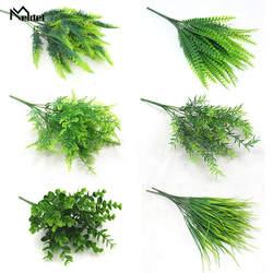 Plante Artificielle 7 вилки имитация пластик папоротники трава зеленые листья Плющ поддельные растения для дома сада улицы украшения Meldel