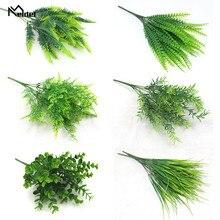 Plante Artificielle 7 Forks Imitation Plastic Ferns Grass Green Leaves Ivy Fake Plants for Home Garden Outdoor Decoration Meldel