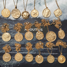 Gold Color Round Coin Necklaces & Pendants For Women Simple Portrait Dollar Charm Necklace Dainty Layering Gifts Chocker цена и фото