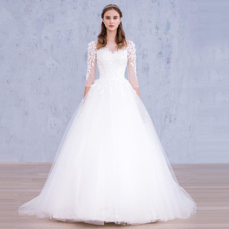 Elegant Bateau Three Quarter Sleeve Applique Custom Bridal Dress Vestido De Noiva Princesa Cheap White Ball Gown Wedding Dresses