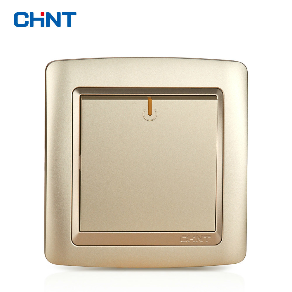 CHINT Electric Lamp Switches NEW2K Switch Light Champagne Gold One Gang Two Way 16A Switch in Switches from Lights Lighting