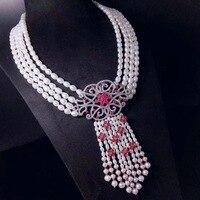 Натуральное пресноводное жемчужное многослойное ожерелье из стерлингового серебра 925 пробы с кубическими цирконами кисточки красные вече