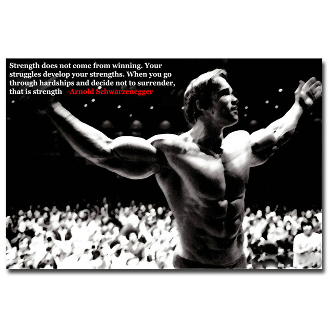 NICOLESHENTING Arnold Schwarzenegger Motivational Quote Art Silk Poster  Print 13x20 24x36inch Bodybuilding Inspirational Picture
