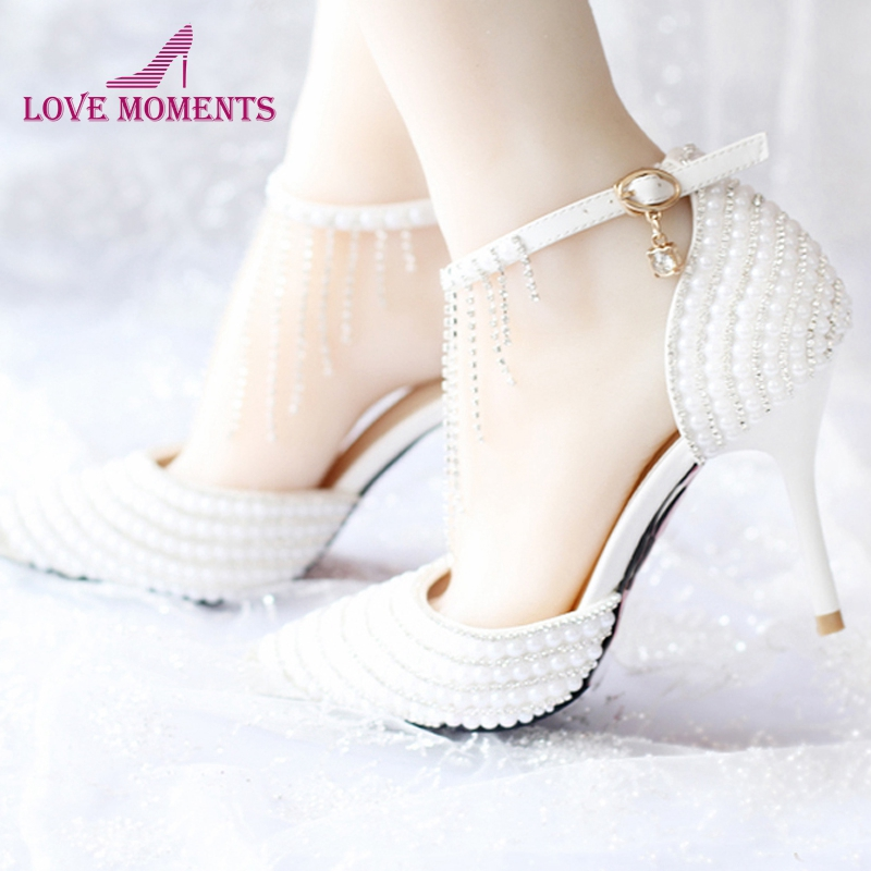 2018 Summer White Pearl Wedding Shoes Tassel Ankle Strap Rhinestone Evening Party Shoes Pointed Toe Bridal Dress Shoes Prom Pump women evening party dress shoes wedding pumps platform rhinestone dress prom shoes white pearl bridal shoes free shipping