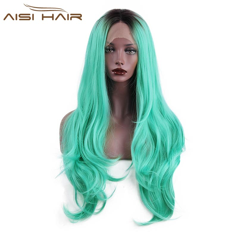 I's a wig Lace Front Ombre Wigs for Black Women Long Wavy Light Blue Synthetic Heat Resistant Hair