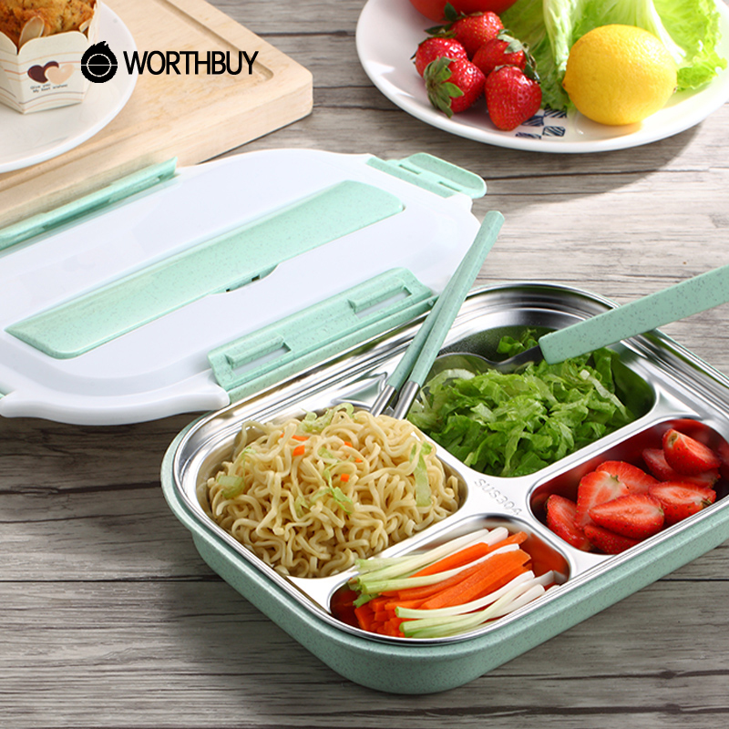 WORTHBUY Japanese Portable Lunch Box With Compartments 304 Stainless Steel Kids Bento Box Wheat Straw Microwave Food Container