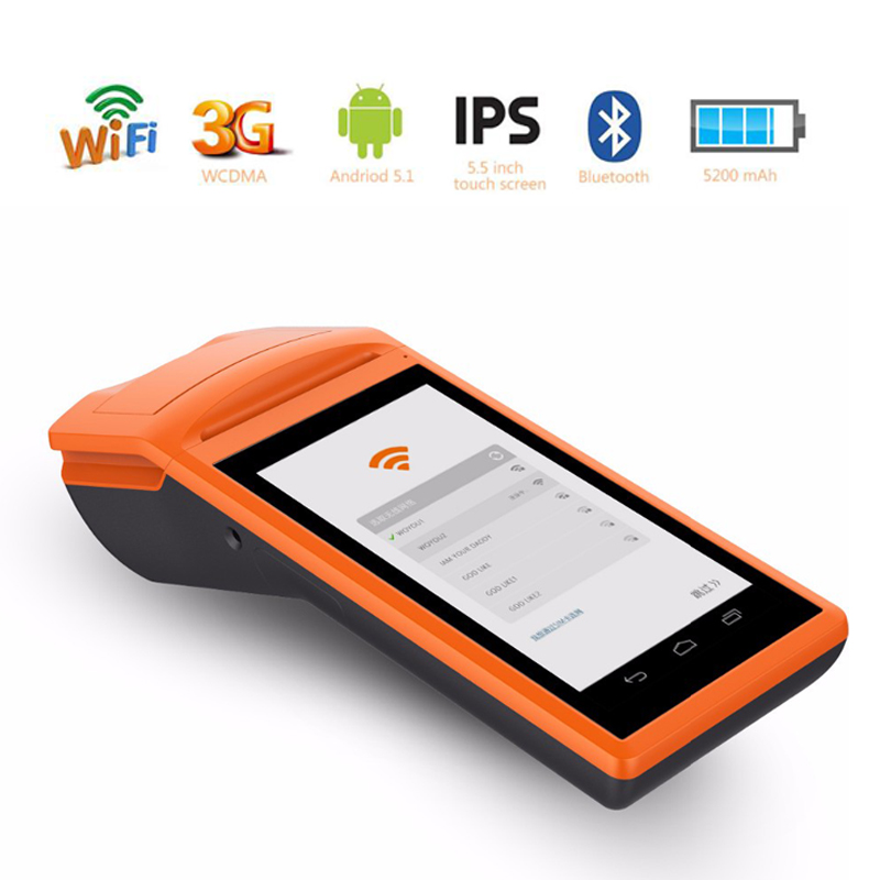 Free Shipping!Android5.1 Mini Pos thermal printer Handheld POS Terminal wireless bluetooth wifi Android PDA 3G Distribution V1 free shipping sm v1 android 3g pos system 5 5 inch display mobile handheld smart pos terminal with printer
