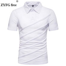 ZYFG free men Polo pleated turn-down collar short-sleeved polo shirt breathable business gentleman male tops