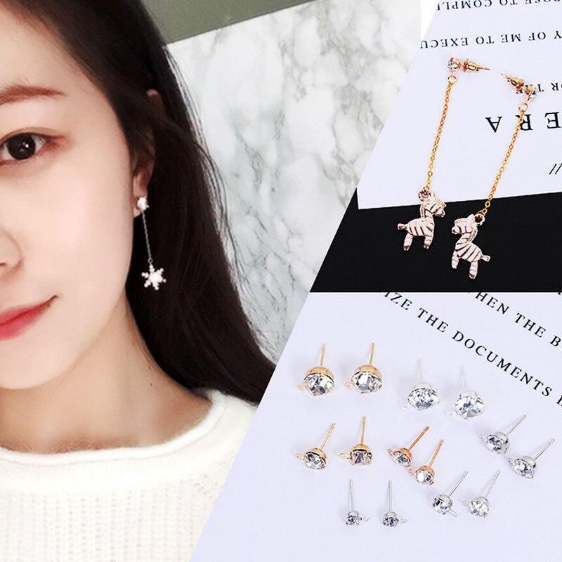 1Pair Hot Girl Earring Womens Fashion Golden Useful Silvery Trendy DIY Women Multi-Ppurpose Stud Earrings For Woman Girls