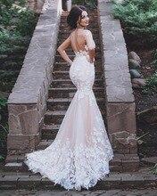 Blush Pink Bridal Gowns Wedding Dresses Mermaid Backless Plus Petites Size Girls
