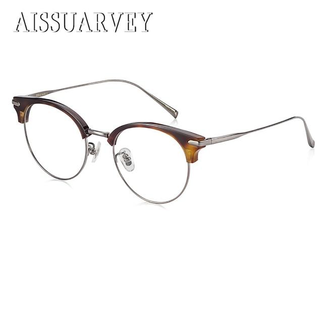 94584800c14e7 Titanium Retro Vintage Cat s Eye Eyeglasses Frame Optical Round Glasses  Prescription Brand Design Eyewear Top Quality Goggles