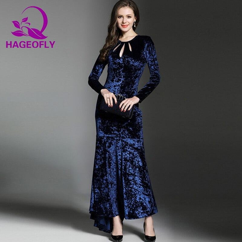 Dark Blue Femmes Velours Automne Robe Maxi Nouveau Mode Élégante Partie Longue Sirène Bleu Foncé Robes Piste Coréenne Hageofly De rdoQxBWCe