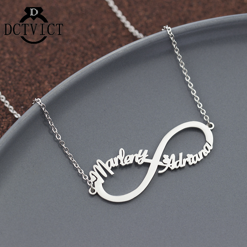 Personalized Name Infinity Necklace Pendant Stainless Steel Custom Chokers Necklaces Women Engagement Gift Silver Kolye Collier