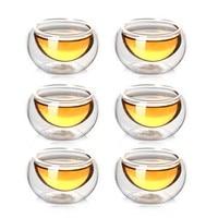 50CC Double Wall Glass Tea Cup Handmade Chinese Kung Fu Mugs Black Tea Heat Insulation Cups