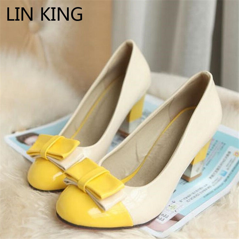 LIN KING Sweet High Heel Women Lolita Shoes Spring Autumn Spike Heel Woman Single Shoes Slip On Round Toe Big Size Ladies Shoes new flock high big size 11 12 women shoes wedges pointed toe woman ladies butterfly knot casual spring autumn sweet single shoes