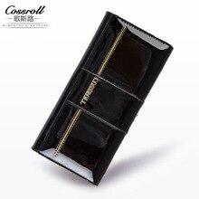 Genuine Leather Wallet Cowhide Women's Wallets Clutch Long Design Purse Bags Handbag Women Purse Patent Leather Bag