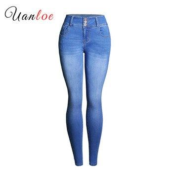 2019 New Women Jeans Fashion Pencil Stretch Skinny Jeans Mid High Waist Jeans Pants Women's Blue Slim Denim Jeans