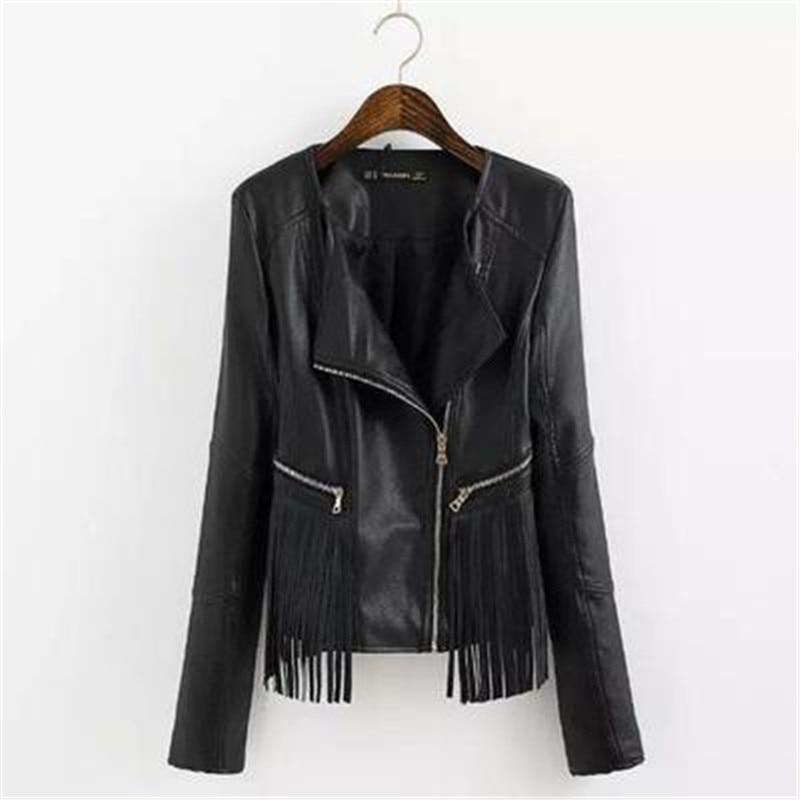 OLGITUM 2017 Fashion font b Women b font black faux leather elegant casual fringe tassel PU