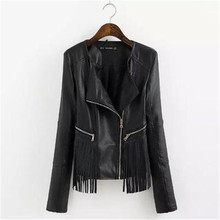 OLGITUM 2017 Fashion Women black faux leather elegant casual fringe tassel PU vintage outwear jacket coat JK008