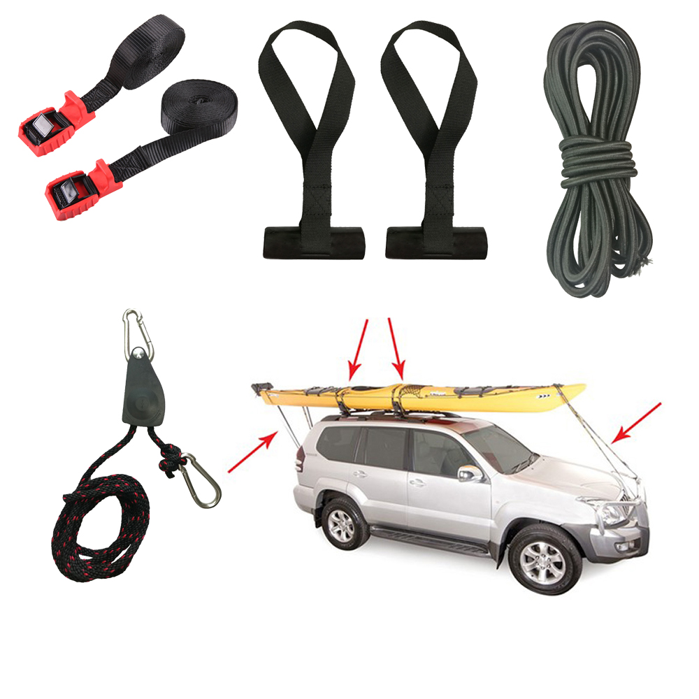 Kayak Strapping Down Kit Cam Buckle Tie Down Straps Rope Bow Stern Tie Down Ratchet Strap Hook Pulley Trunk Loops Hood