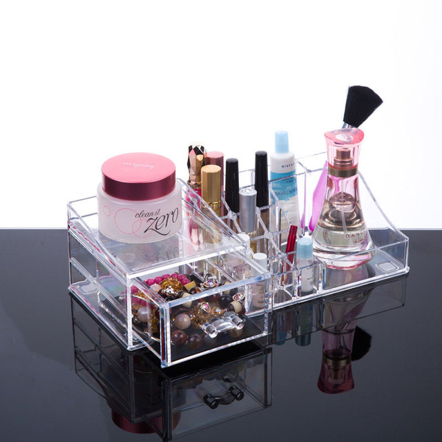 Crystal Cosmetic Organizer BOX with drawer Clear Makeup Jewelry
