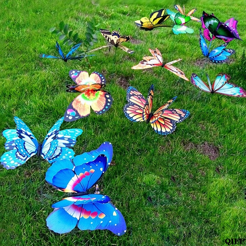 Drop Ship Colorful Fairy Butterfly On Stick Ornament Home Garden Vase Lawn Art Craft Decor May30