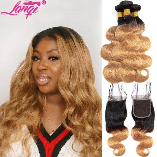 Brazilian Body Wave Bundles With Closure Ombre Bundles With Closure Two Tone Human Hair Weave 1B/27 blonde bundles with closure