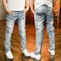 Korean Boys Fashion Jeans Children  Skinny Teenage Denim Pants High Quality Cotton Light Blue Stretch Long Trousers Dropship