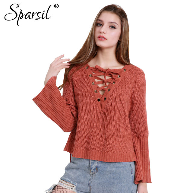 ab4c2377ab Spasril Women Lace Up Knitted Sweater Drawstring Big V-Neck Flared Cuff  Split Hem Pullovers Sexy Plus Size Loose Casual Knitwear