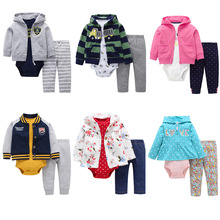 Baby Boys Girls Bodysuits Cotton Child 3-Pieces Sets Newborn Clothing For 6-24 Months