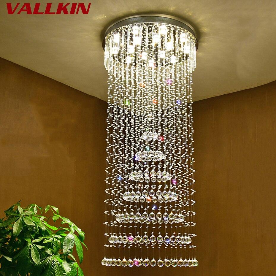 Moderne Große Größe Kristall Kronleuchter Spiral Runde Ring Treppen Leuchte Für  Foyer Hotel Villa Innen Kristall