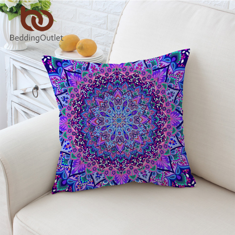 BeddingOutlet Pink and Purple Glowing Mandala Cushion Cover Boho Pillow Case Microfiber Soft Throw Cover 45cmx45cm 70cmx70cm