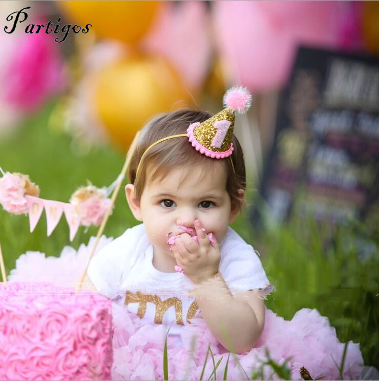 Aliexpress Buy Happy First Birthday Pink Party Hats Decor Cap One Hat Princess Crown 1 9 Year Old Number Baby Kids Hair Accessory From
