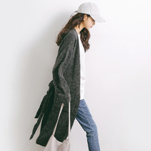Long design sweater for women autumn and winter loose waist lace plus size cardigan coat Khaki gray knitted trench M02