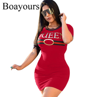 Boayours 2018 Letters Print T Shirt Dress Women Loose Short Sleeve Casual Ladies Dresses Black Party