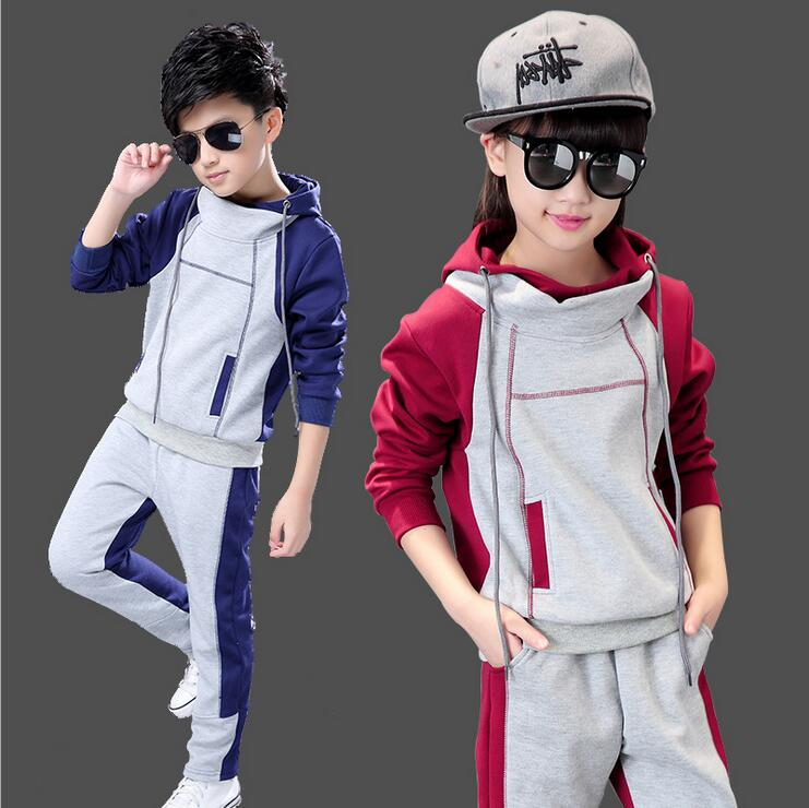 Unisex Sports Kids Clothes Hooded 2016 New Long-sleeved Tracksuit Girl Infantil Menina Spring And Autumn Two-piece Boys Clothes
