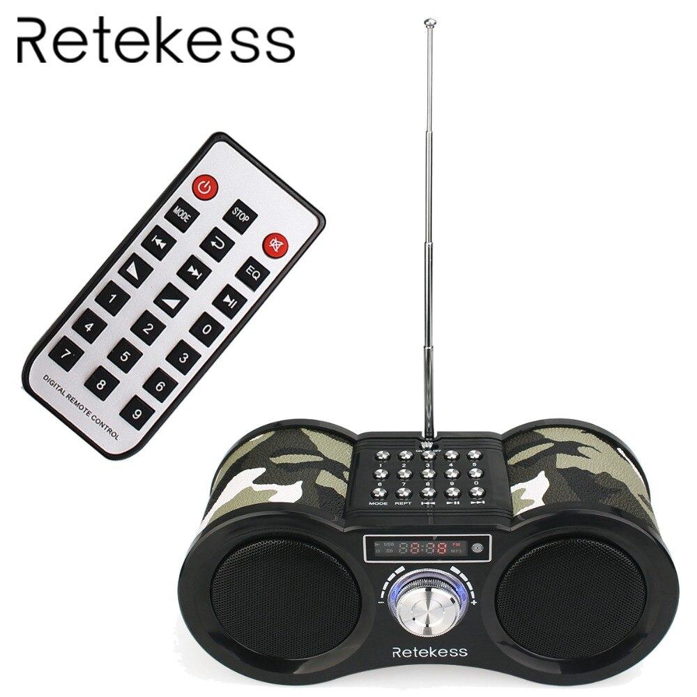 RETEKESS V113 רדיו FM סטריאו הדיגיטלי רדיו מקלט רמקול USB TF כרטיס MP3 מוסיקה נגן הסוואה עם שלט רחוק F9203