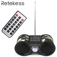 RETEKESS V113 Radio FM Stereo Digital Radio Receiver Speaker USB TF Card MP3 Music Player Camouflage With Remote Control F9203